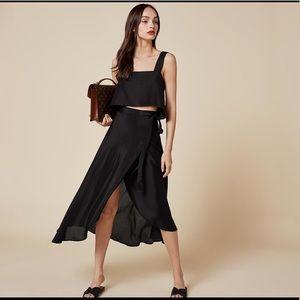 Reformation Newman skirt black wrap skirt size XS
